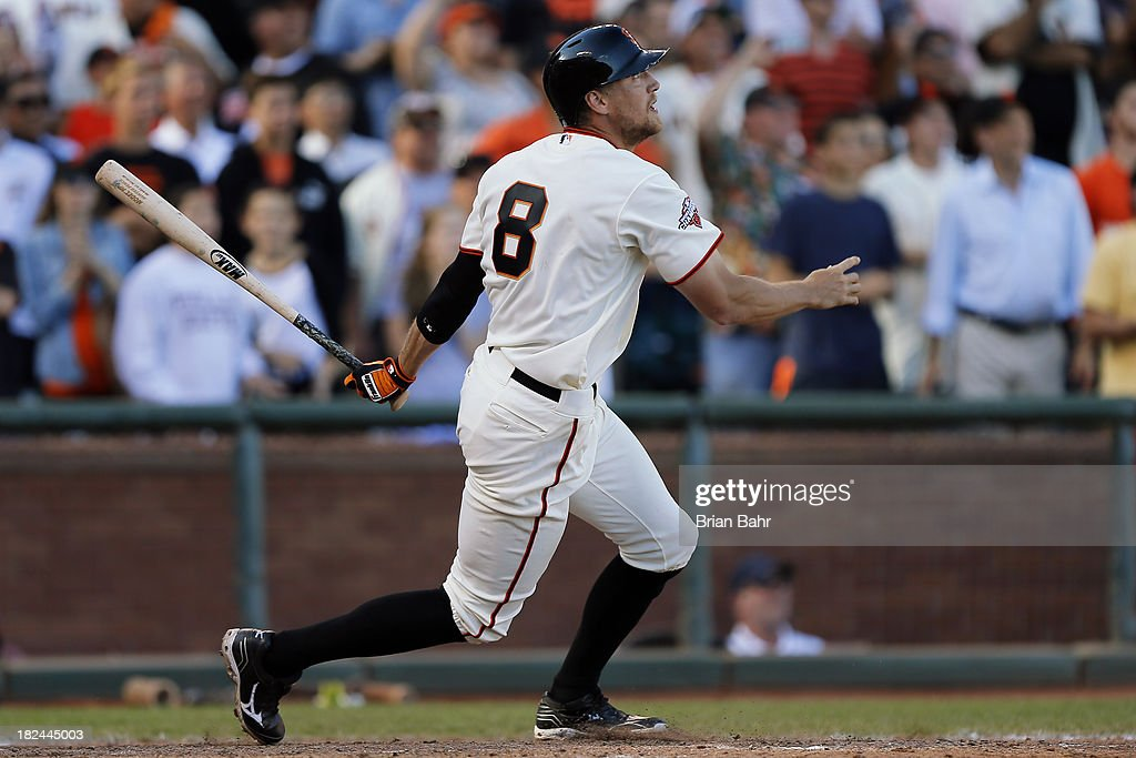 <a gi-track='captionPersonalityLinkClicked' href=/galleries/search?phrase=Hunter+Pence&family=editorial&specificpeople=757341 ng-click='$event.stopPropagation()'>Hunter Pence</a> #8 of the San Francisco Giants hits a walk-off RBI single to center field to beat the San Diego Padres 7-6 in nine innings at AT&T Park on September 29, 2013 in San Francisco, California.