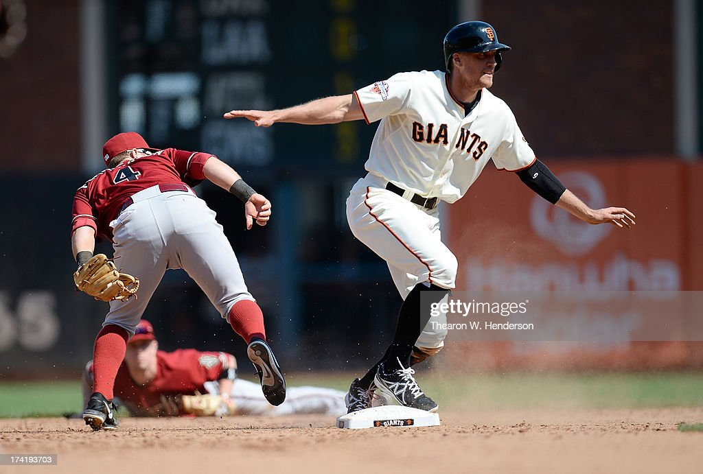 <a gi-track='captionPersonalityLinkClicked' href=/galleries/search?phrase=Hunter+Pence&family=editorial&specificpeople=757341 ng-click='$event.stopPropagation()'>Hunter Pence</a> #8 of the San Francisco Giants is safe at second beating the throw to Cliff Pennington #4 of the Arizona Diamondbacks in the ninth inning at AT&T Park on July 21, 2013 in San Francisco, California. The Diamondbacks won the game 3-1.