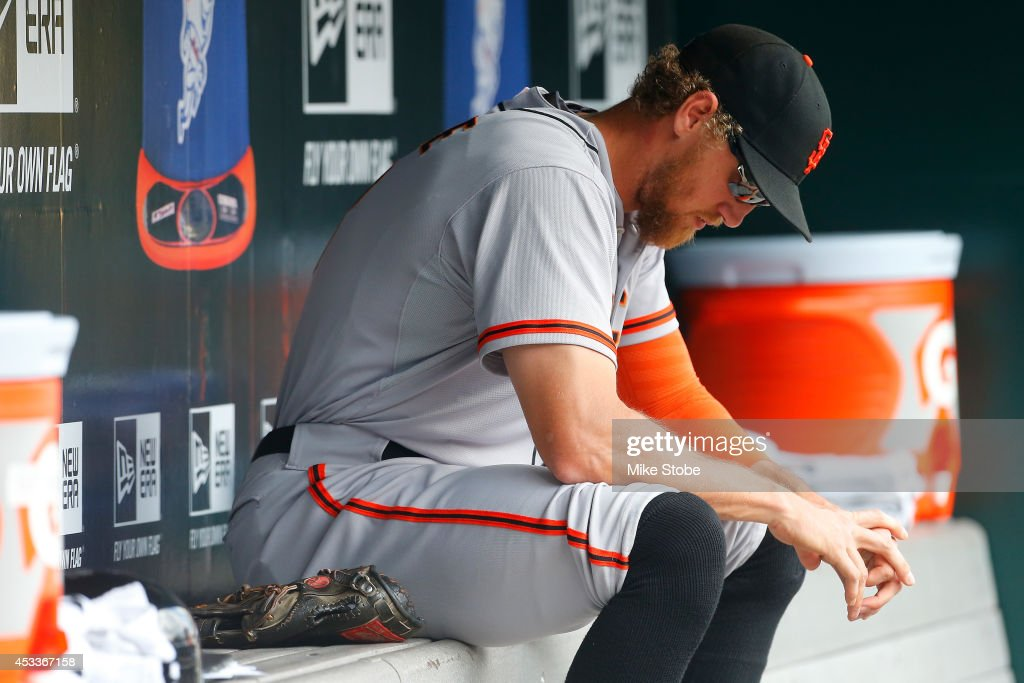 <a gi-track='captionPersonalityLinkClicked' href=/galleries/search?phrase=Hunter+Pence&family=editorial&specificpeople=757341 ng-click='$event.stopPropagation()'>Hunter Pence</a> #8 of the San Francisco Giants looks on against the New York Mets at Citi Field on August 4, 2014 in the Flushing neighborhood of the Queens borough of New York City. Giants defeated the Mets 4-3.