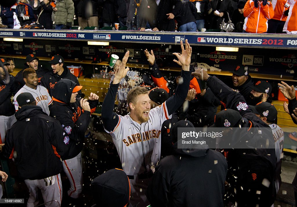 Hunter Pence of the San Francisco Giants pumps up his teammates in the dugout prior to Game 4 of the 2012 World Series on Sunday, October 28, 2012 at Comerica Park in Detroit, Michigan.