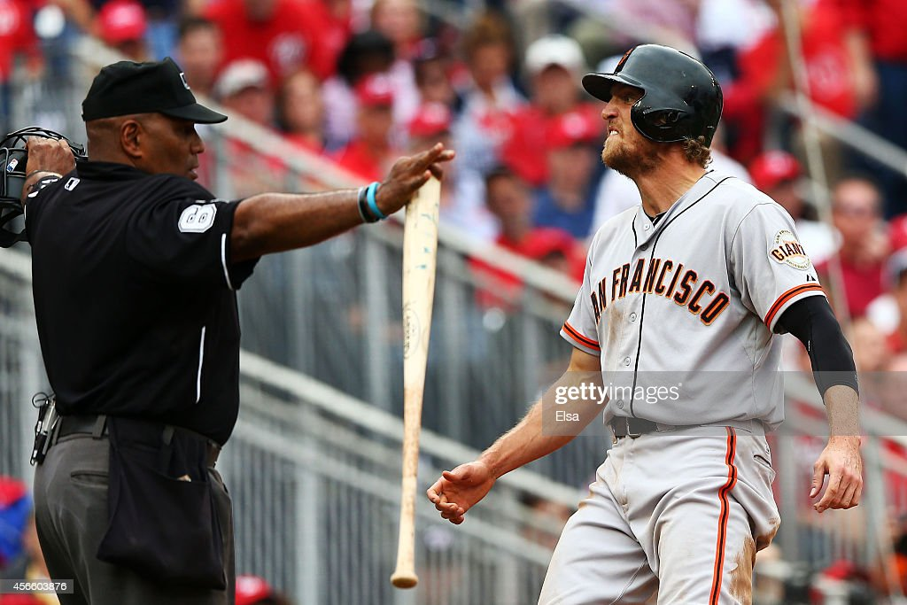 <a gi-track='captionPersonalityLinkClicked' href=/galleries/search?phrase=Hunter+Pence&family=editorial&specificpeople=757341 ng-click='$event.stopPropagation()'>Hunter Pence</a> #8 of the San Francisco Giants reacts after scoring on a single by Brandon Belt #9 in the fourth inning against the Washington Nationals during Game One of the National League Division Series at Nationals Park on October 3, 2014 in Washington, DC.