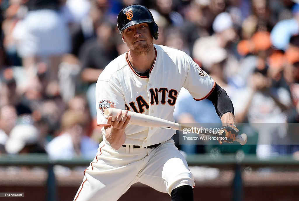 <a gi-track='captionPersonalityLinkClicked' href=/galleries/search?phrase=Hunter+Pence&family=editorial&specificpeople=757341 ng-click='$event.stopPropagation()'>Hunter Pence</a> #8 of the San Francisco Giants reacts after striking out to end the fifth inning against the Chicago Cubs at AT&T Park on July 28, 2013 in San Francisco, California.