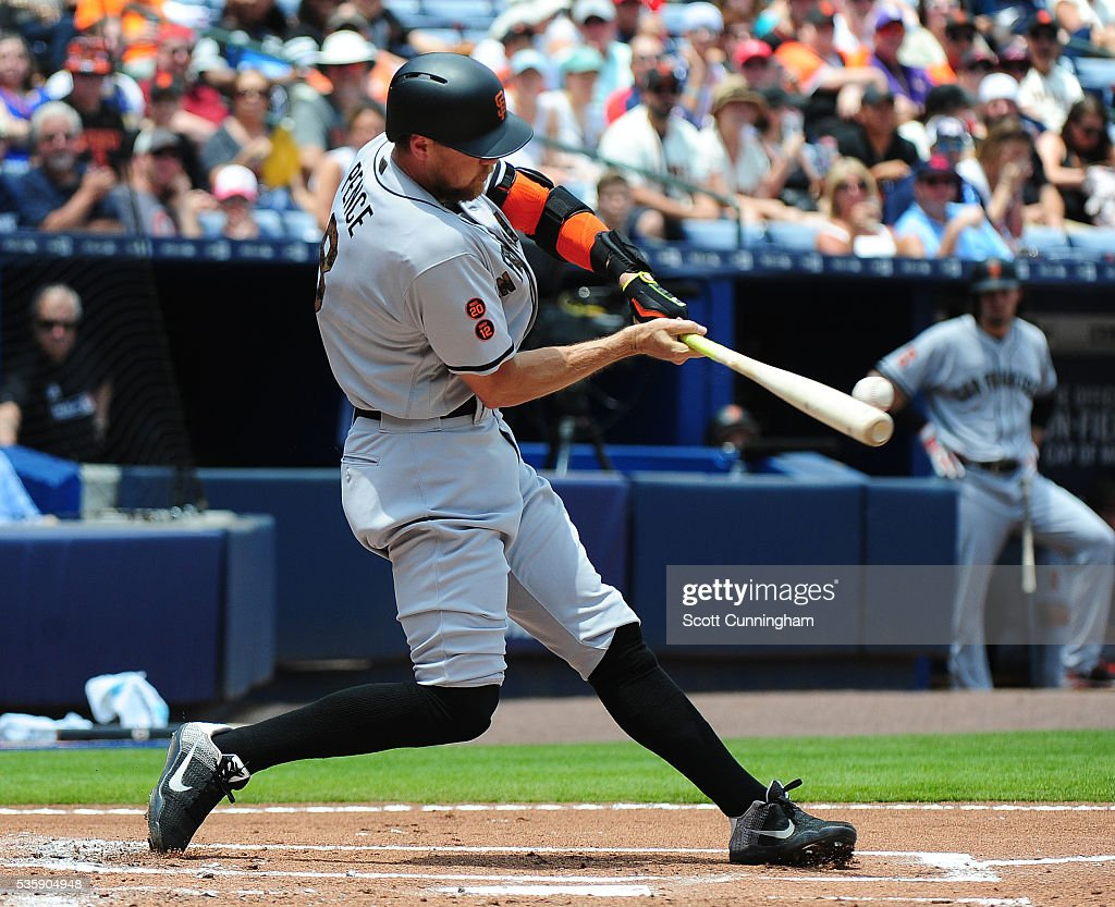 <a gi-track='captionPersonalityLinkClicked' href=/galleries/search?phrase=Hunter+Pence&family=editorial&specificpeople=757341 ng-click='$event.stopPropagation()'>Hunter Pence</a> #8 of the San Francisco Giants singles in the seventh inning against the Atlanta Braves at Turner Field on May 30, 2016 in Atlanta, Georgia.