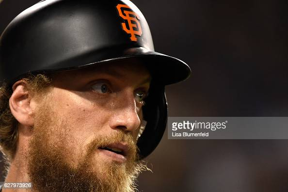 Hunter Pence of the San Francisco Giants waits on deck during the game againt the Los Angeles Dodgers at Dodger Stadium on September 20 2016 in Los...