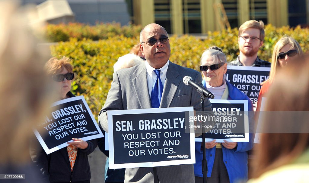 Hunter R. Clark, a Law Professor at Drake University, speaks at a MoveOn.org event named 'Senator Grassley, Do Your Job Or Lose The Respect And Votes' on May 3, 2016 in Des Moines, Iowa.