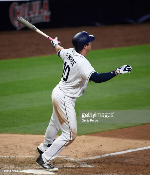 Hunter Renfroe of the San Diego Padres hits a a tworun walk off home run during the tenth inning of a baseball game against the Milwaukee Brewers at...