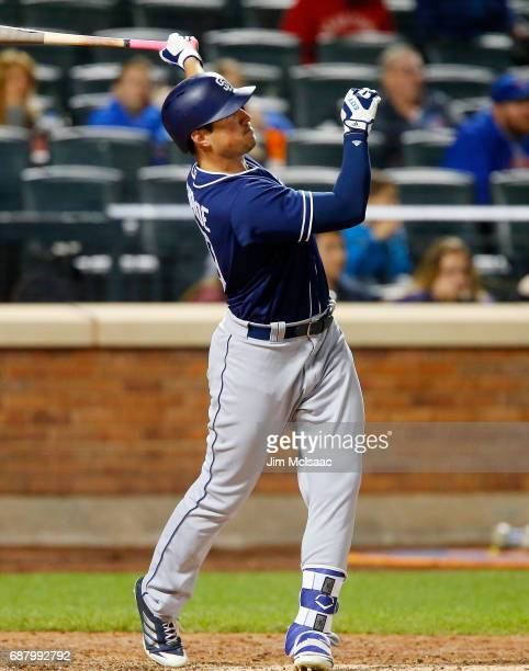 Hunter Renfroe of the San Diego Padres hits a home run in the eighth inning against the New York Mets at Citi Field on May 24 2017 in the Flushing...