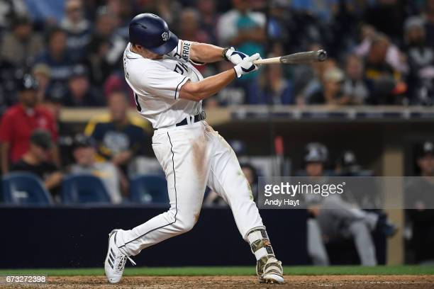 Hunter Renfroe of the San Diego Padres hits during the game against the Miami Marlins at Petco Park on April 22 2017 in San Diego California