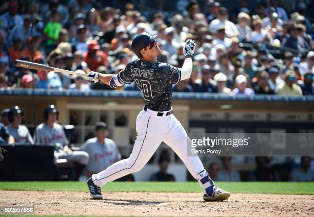 Hunter Renfroe of the San Diego Padres plays during a baseball game against the Detroit Tigers at PETCO Park on June 25 2017 in San Diego California