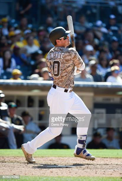 Hunter Renfroe of the San Diego Padres plays during a baseball game against the Pittsburgh Pirates at PETCO Park on July 30 2017 in San Diego...