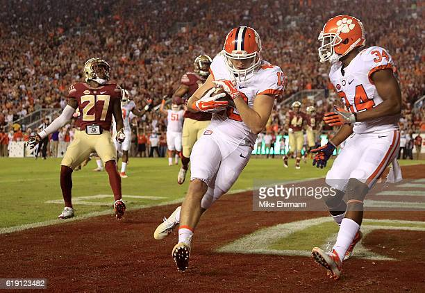 Hunter Renfrow of the Clemson Tigers scores a touchdown during a game against the Florida State Seminoles at Doak Campbell Stadium on October 29 2016...