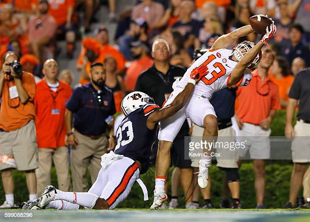 Hunter Renfrow of the Clemson Tigers scores a touchdown during the fourth quarter against Johnathan Ford of the Auburn Tigers at Jordan Hare Stadium...