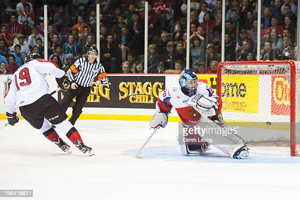 Hunter Shinkaruk of the WHL AllStars scores the AllStars' first shootout goal against Andrei Makarov of team Russia during Game One of the WHLRussia...
