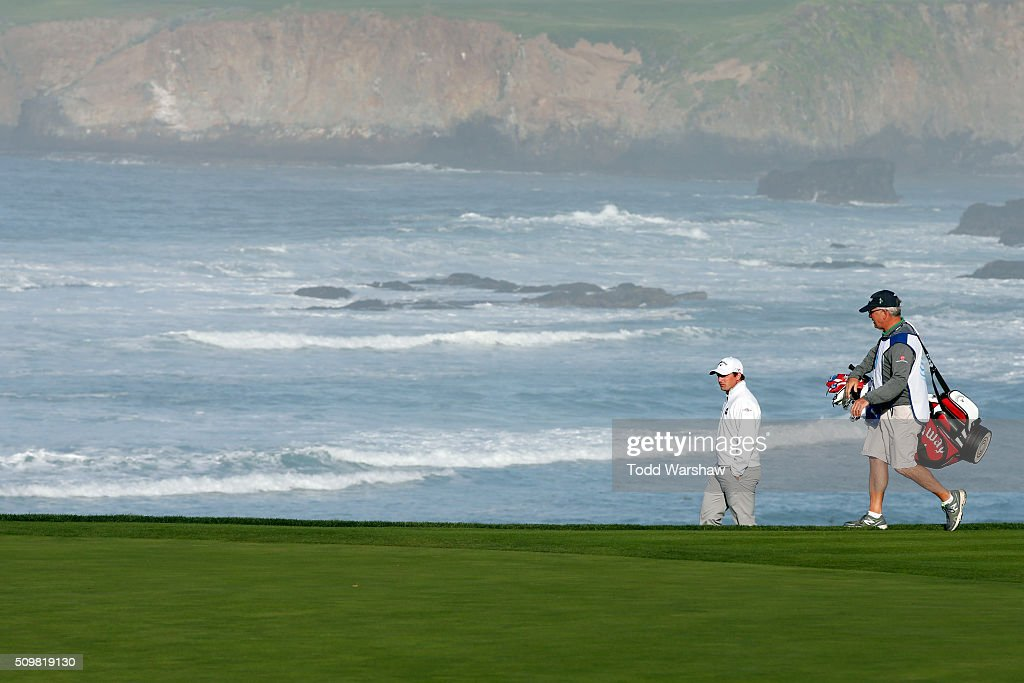 Hunter Stewart walks to the 10th green during the second round of the AT&T Pebble Beach National Pro-Am at the Pebble Beach Golf Links on February 12, 2016 in Pebble Beach, California.