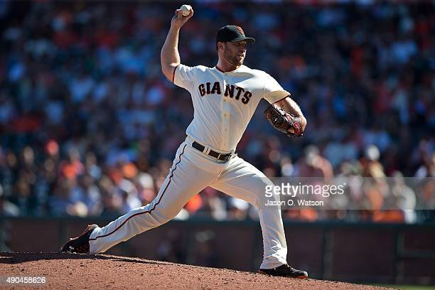 Hunter Strickland of the San Francisco Giants pitches against the Arizona Diamondbacks during the seventh inning at ATT Park on September 20 2015 in...
