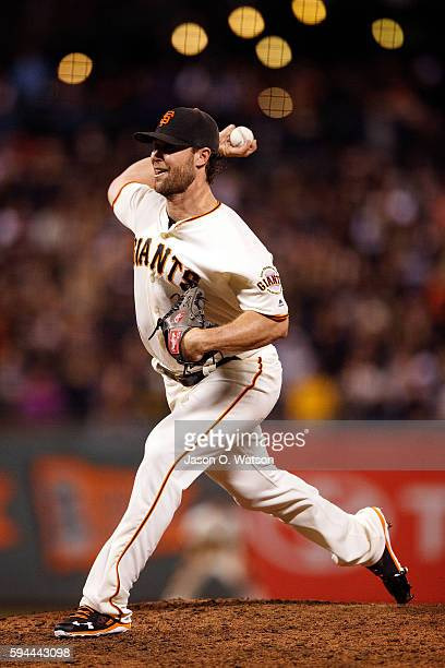 Hunter Strickland of the San Francisco Giants pitches against the Pittsburgh Pirates during the seventh inning at ATT Park on August 16 2016 in San...