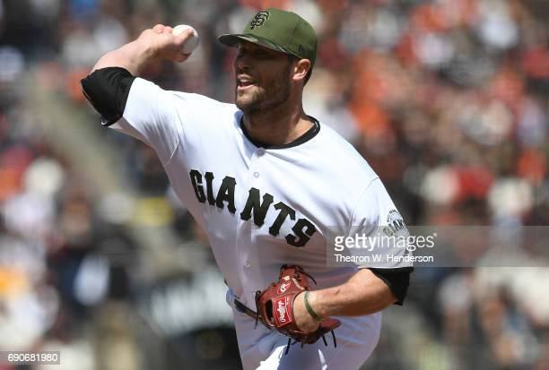 Hunter Strickland of the San Francisco Giants pitches against the Washington Nationals in the top of the eighth inning at ATT Park on May 29 2017 in...