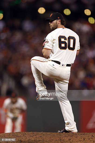 Hunter Strickland of the San Francisco Giants pitches during Game 3 of NLDS against the Chicago Cubs at ATT Park on Monday October 10 2016 in San...