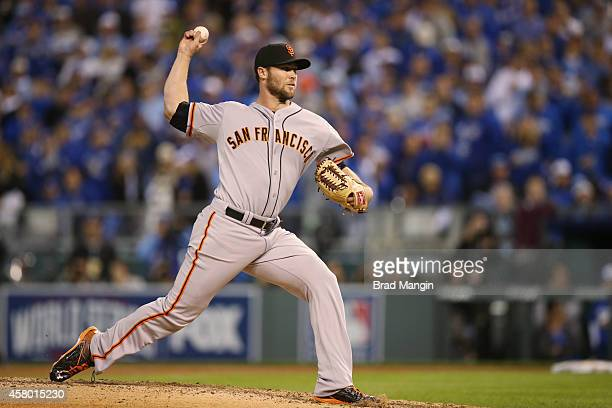 Hunter Strickland of the San Francisco Giants pitches during Game 6 of the 2014 World Series against the Kansas City Royals on Tuesday October 28...