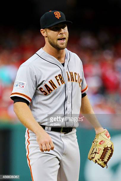 Hunter Strickland of the San Francisco Giants reacts after striking out Ian Desmond of the Washington Nationals to end the sixth inning with the...