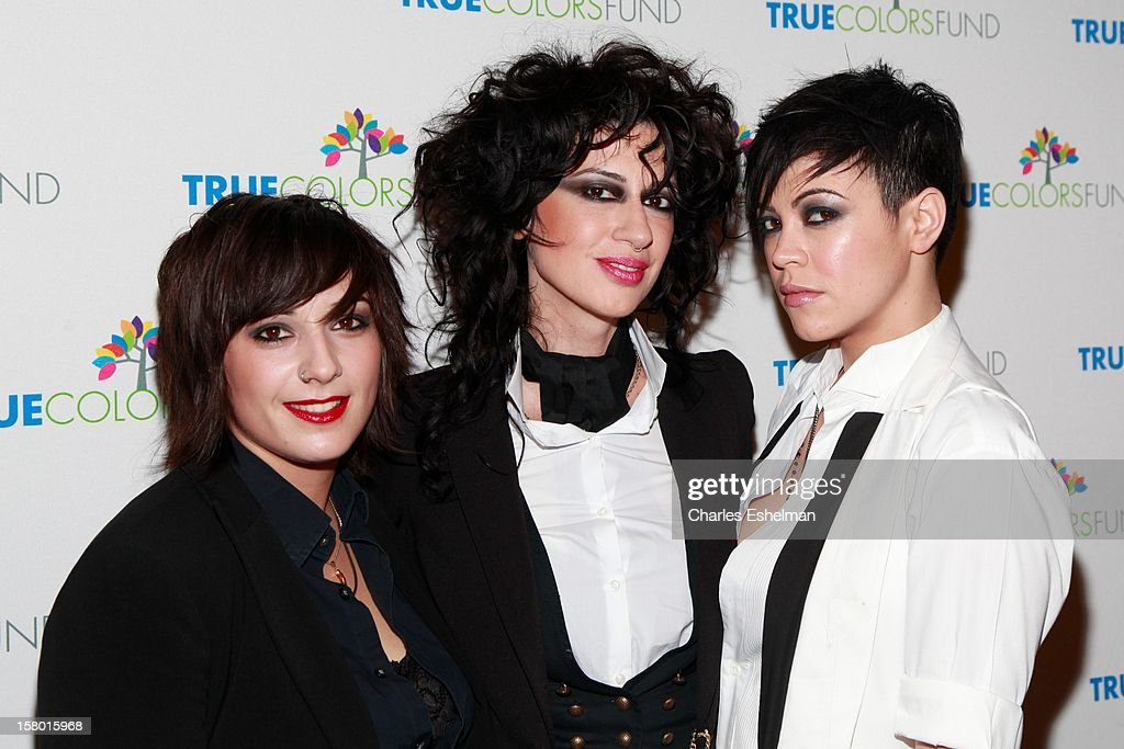 Hunter Valentine' drummer Laura Petracca, bassist Veronica Sanchez and front-woman Kiyomi McCloskey arrive at The Beacon Theatre on December 8, 2012 in New York City.