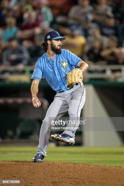 Hunter Wood of the Tampa Bay Rays pitches against the Minnesota Twins on February 24 2017 at the CenturyLink Sports Complex in Fort Myers Florida