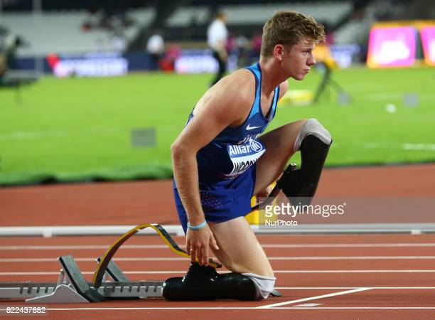 Hunter Woodhall of USA compete Men's 400m T43 Final during World Para Athletics Championships Day Three at London Stadium in London on July 17 2017