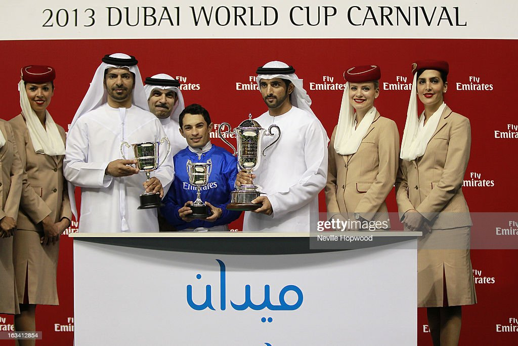 Hunter's Light presentation after winning the Al Maktoum Challenge Round 3, (L-R) Trainer Saeed bin Suroor, Majid Al Mualla, Senior Vice President of Emirates Airlines commercial operations, Jockey Silvestre De Sousa and Sheikh Hamdan Al Maktoum during Super Saturday at Meydan Racecourse on March 9, 2013 in Dubai, United Arab Emirates.