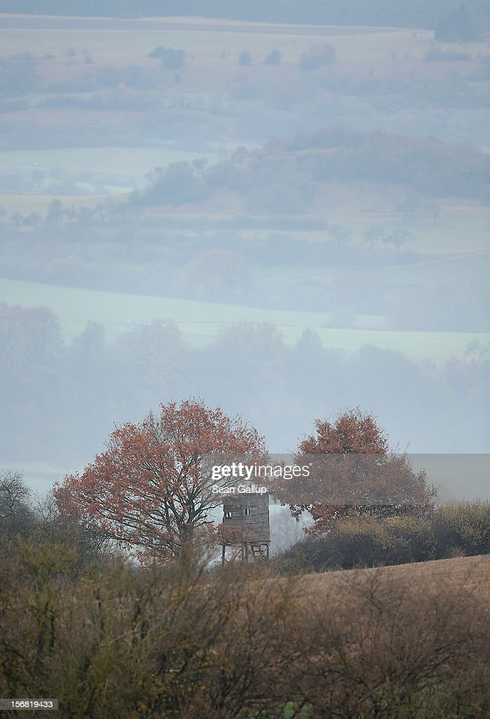 A hunter's perch stands overlooking a valley on November 19, 2012 near Trendelburg, Germany. Trendelburg lies along the 'Fairy Tale Road' (in German: Die Maerchenstrasse) that leads through the region between Frankfurt and Bremen where the Grimm brothers collected and adapted most of their fairy tales, which include such global classics as Sleeping Beauty, Little Red Riding Hood, Rapunzel, Cinderella and Hansel and Gretel, in the early 19th century. The 200th anniversary of the first publication of the stories will take place this coming December 20th.