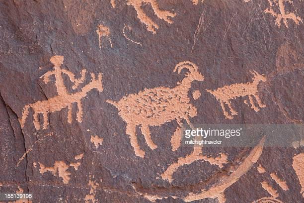 Hunting Panel of Native American Newspaper Rock petroglyphs Utah horizontal