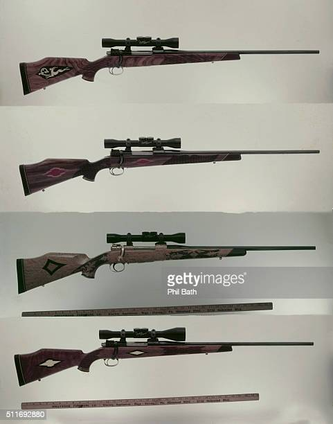 Portrait of custombuilt biggame high velocity rifles desgned by Roy Weatherby From topbottom a Mesquite stock 300 Magnum with mounted Weatherby 4x...