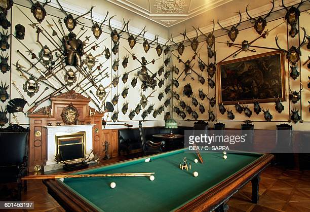 Hunting room with a billiards table Archbishop's palace in Kromeriz Czech Republic 17th18th century