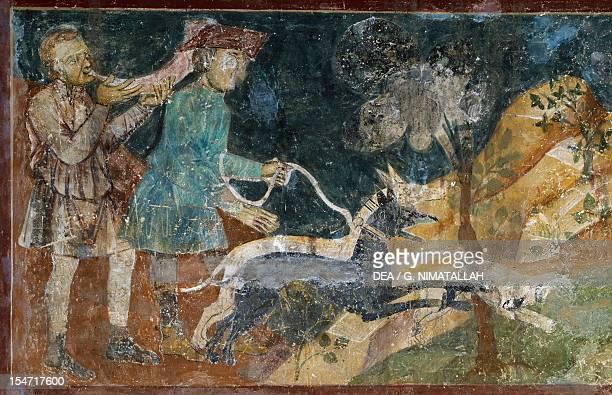 Hunting scenes by Azzo of Masetto fresco Dante's Hall People's Palace San Gimignano Tuscany Detail Italy 13th century