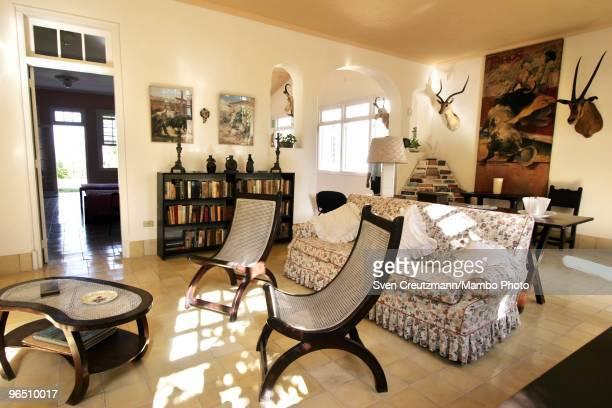 Hunting trophies hang on the walls of the livingroom of Ernest Hemingway�s house at the Finca Vigia on January 6 2007 in Havana Cuba The Hemingway...