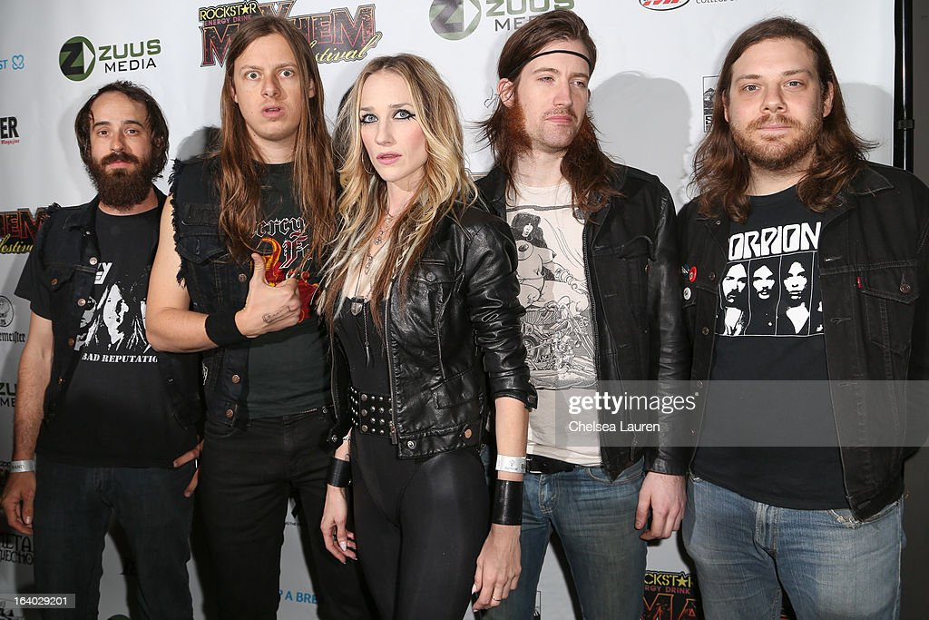 Huntress attends the 6th annual Rockstar energy drink Mayhem festival press conference at The Whiskey A Go Go on March 18, 2013 in West Hollywood, California.