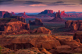 Sunrise in Hunts Mesa navajo tribal majesty place near Monument Valley, Arizona, USA