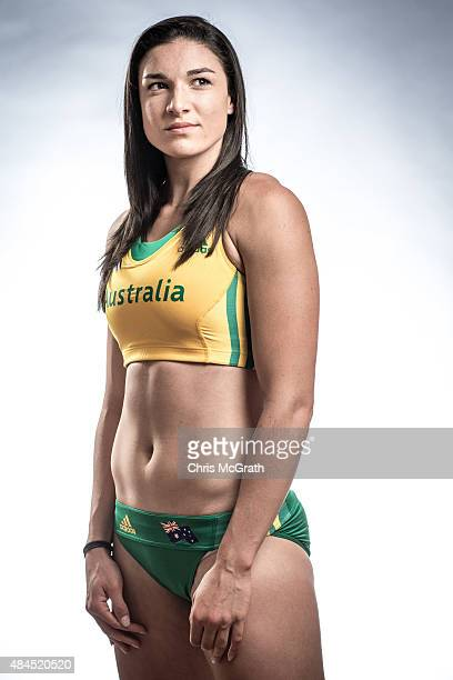 Hurdler Michelle Jenneke of Australia poses for a portrait during a photo session at the Athletics Australia training camp on August 17 2015 in...