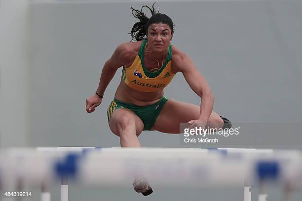 Hurdler Michelle Jenneke of Australia trains during the Australian Flame Team Camp training session held at Kimidera Athletics Stadium on August 17...
