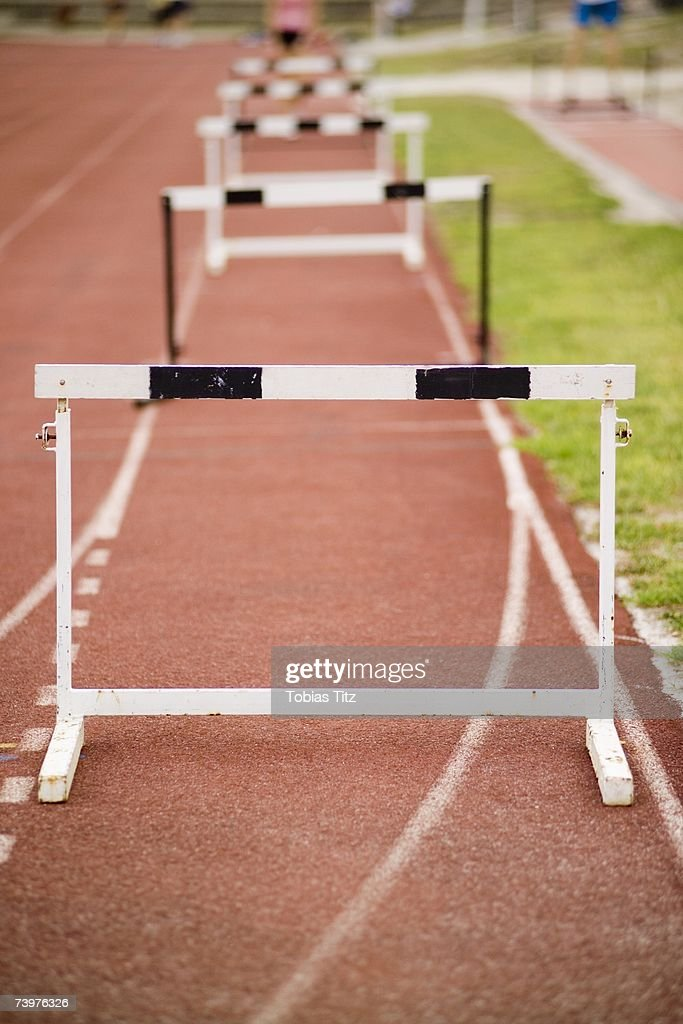 Hurdles arranged on a running track
