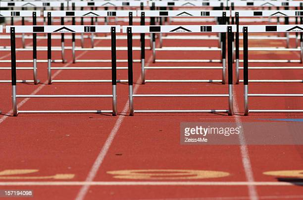Hurdles at a track meet
