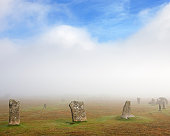 Hurlers Stone Circle in the mist; Bodmin Moor