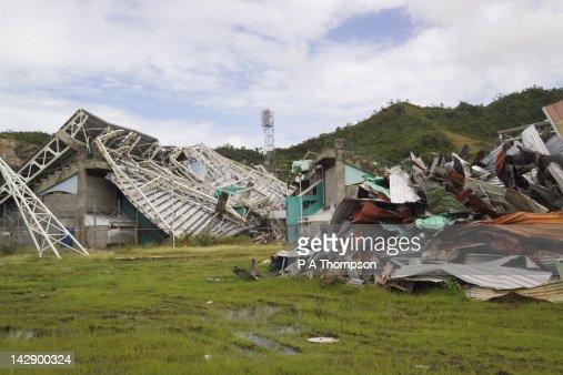 Hurricane Damaged Queens Park Sports Stadium, St Georges, Grenada, Caribbean : Stock Photo