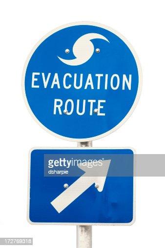 ハリケーン避難ルートの道路標識-絶縁型