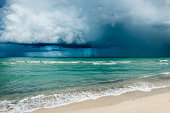 Hurricane in Florida.  Clouds of storm over the ocean. Miami beach