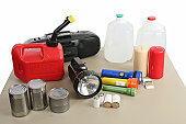 A group of supplies necessary to survive the aftermath of a hurricane or natural disaster - Path included.