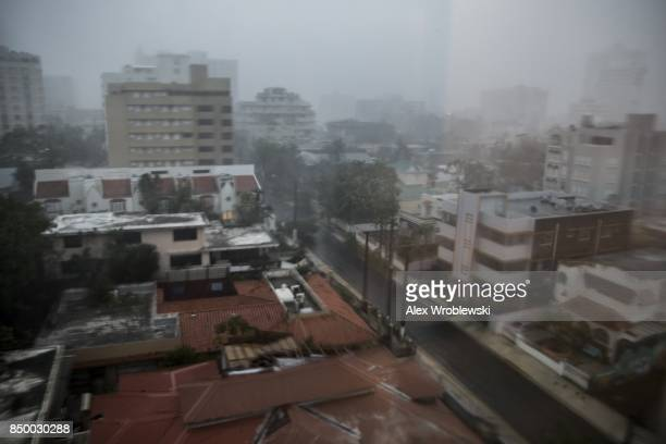 Hurricane Maria bears down on Puerto Rico on September 20 2017 in San Juan Thousands of people have sought refuge in shelters and electricity and...