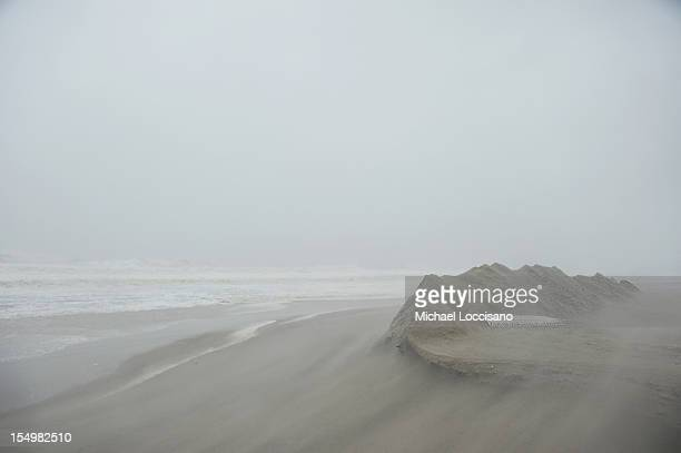 Hurricane Sandy erodes the shore on October 29 2012 in Asbury Park New Jersey The storm which threatens 50 million people in the eastern third of the...