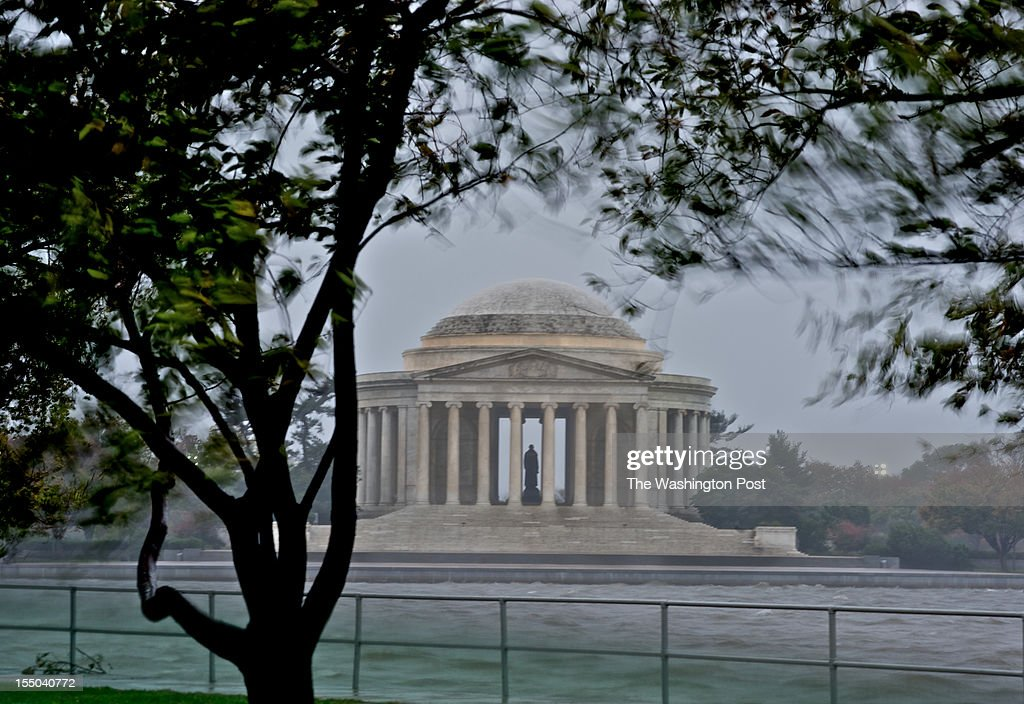Hurricane Sandy's strong winds cause rough currents on the Potomac river near the Jefferson Memorial at the Tdial Basin.
