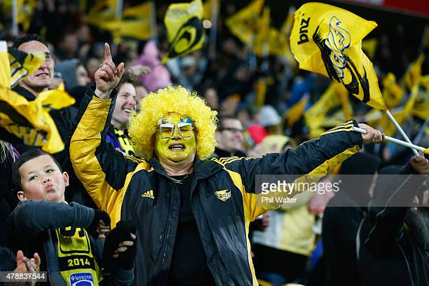 Hurricanes fan during the Super Rugby Semi Final match between the Hurricanes and the Brumbies at Westpac Stadium on June 27 2015 in Wellington New...