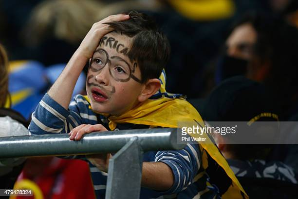 Hurricanes fan in despair during the Super Rugby Final match between the Hurricanes and the Highlanders at Westpac Stadium on July 4 2015 in...